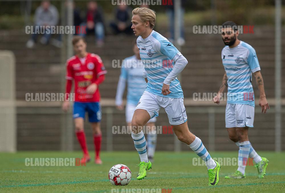 Carl Lange (FC Helsingør) under kampen i 2. Division mellem Slagelse B&I og FC Helsingør den 6. oktober 2019 på Slagelse Stadion (Foto: Claus Birch).
