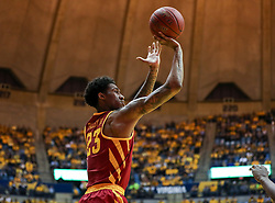 Feb 24, 2018; Morgantown, WV, USA; Iowa State Cyclones forward Zoran Talley Jr. (23) shoots a three from the corner during the first half against the West Virginia Mountaineers at WVU Coliseum. Mandatory Credit: Ben Queen-USA TODAY Sports