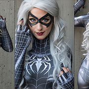 Elizabeth Rage  cosplay in her costume, as  Symbiote the black cat from Spiderman comics.<br /> <br /> Cosplay, a contraction of the words costume play, is a performance art in which participants called cosplayers wear costumes and fashion accessories to represent a specific character.<br /> <br /> Cosplayers often interact to create a subculture and a broader use of the term &quot;cosplay&quot; applies to any costumed role-playing in venues apart from the stage. Any entity that lends itself to dramatic interpretation may be taken up as a subject and it is not unusual to see genders switched. Favorite sources include manga and anime, comic books and cartoons, video games, and live-action films and television series.<br /> <br /> The New York Comic Con convention, is a celebration of comic books, graphic novels, sci-fi and video games, toys, movies and television. The convention brings together celebrities as well as fans of fantasy role playing, Comic-Con is the business of pop culture.