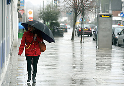 © Licensed to London News Pictures. 12/02/2014<br /> Heavy rain in Pettwoods, High Street, Kent.<br />  Bad weather in the South East this afternoon (12.02.2014)<br /> with heavy rain and gale force winds.<br /> Photo credit :Grant Falvey/LNP