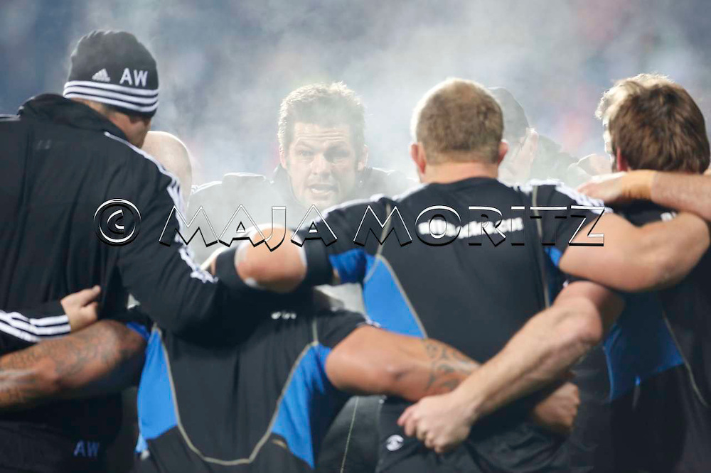 All Black captain Richie McCAW talks to his team