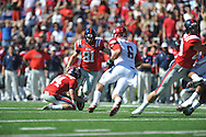 Ole Miss' Bryson Rose (81) kicks a 43 yard field goal in the first quarter with 3:43 remaining vs. Arkansas at Vaught-Hemingway Stadium in Oxford, Miss. on Saturday, October 22, 2011. .