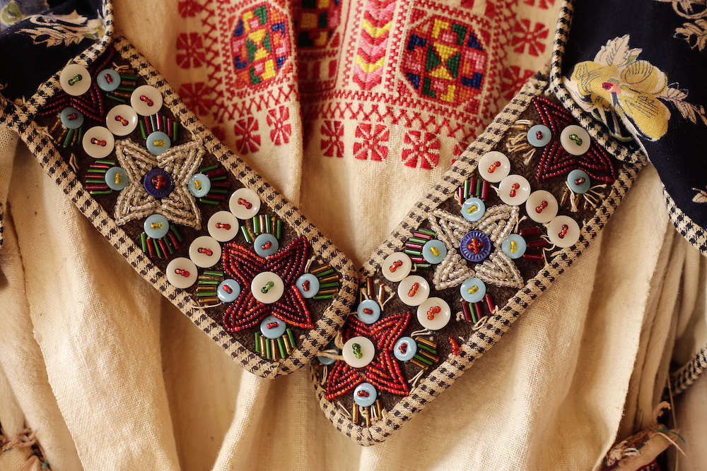 Traditional patterns on a dress at Rilindja guest house, Valbona valley, Albania.