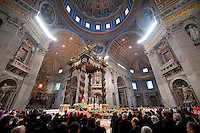 Holy Father, Pope Benedict XVI celebrated mass under the bronze Baldacchino made by Gian Lorenzo Bernini.  All of the Pueri Cantores choirs from around the world were in attendance at mass to sing on the Solemnity of Mary the Mother of God.