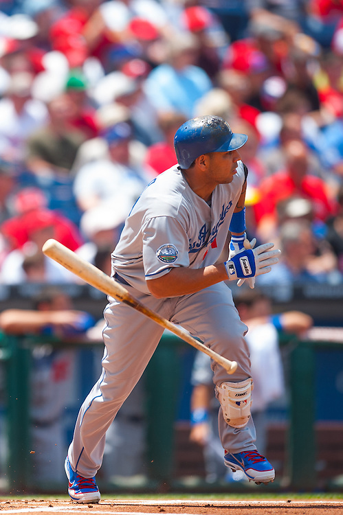PHILADELPHIA, PA - JUNE 07: Juan Rivera #21 of the Los Angeles Dodgers bats during the game against the Philadelphia Phillies at Citizens Bank Park on June 7, 2012 in Philadelphia, Pennsylvania. (Photo by Rob Tringali) *** Local Caption *** Juan Rivera