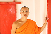 Portrait of a Monk in an temple in Laos