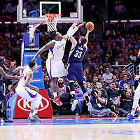 23 February 2015: Memphis Grizzlies center Marc Gasol (33) goes for the layup against Los Angeles Clippers forward Glen Davis (0) during the Memphis Grizzlies 90-87 victory over the Los Angeles Clippers, at the Staples Center, Los Angeles, California, USA.