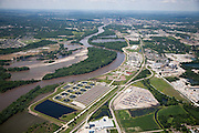 Wastewater treatment plant in Des Moines Iowa along the Des Moines River.
