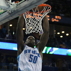 Jan 08, 2010; New Orleans, LA, USA; New Orleans Hornets center Emeka Okafor (50) dunks the ball against the New Jersey Nets during the second half at the New Orleans Arena. The Hornets defeated the Nets 103-99. Mandatory Credit: Derick E. Hingle-US PRESSWIRE.
