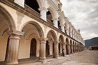 Seemingly neverending arches of the stuffing Palacio de los Capitanes Generale in Antigua, Guatemala.