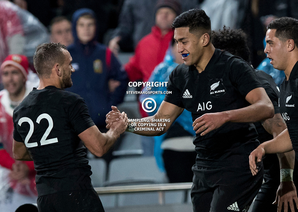 Aaron Cruden  congratulates Rieko Ioane during game 7 of the British and Irish Lions 2017 Tour of New Zealand, the first Test match between  The All Blacks and British and Irish Lions, Eden Park, Auckland, Saturday 24th June 2017<br /> (Photo by Kevin Booth Steve Haag Sports)<br /> <br /> Images for social media must have consent from Steve Haag