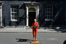 May 24, 2019, London, United Kingdom: British Prime Minister THERESA MAY makes a statement in Downing Street after meeting Graham Brady, the chair of 1922 committee. Theresa May will resign as Prime Minister and the leader of the Conservative Party on 7 June 2019. (Credit Image: © Nils Jorgensen/i-Images via ZUMA Press)