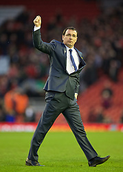 LIVERPOOL, ENGLAND - Sunday, March 8, 2015: Blackburn Rovers' manager Gary Bowyer applauds the travelling supporters after his side's goal-less draw with Liverpool during the FA Cup 6th Round Quarter-Final match at Anfield. (Pic by David Rawcliffe/Propaganda)