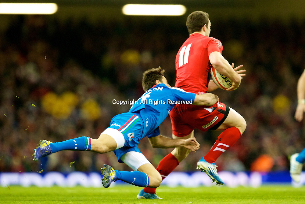 01.02.2014 Cardiff, Wales. Wales wing George North (Northampton Saints) during the Six Nations game between Wales and Italy from the Millennium Stadium.