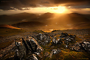 Sunset from the summit of Yr Wyddfa (Snowdon) before spending the night sleeping on the café floor whilst on a commercial shoot for a client.<br />