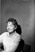 """14/09/1964<br /> 09/14/1964<br /> 14 September 1964<br /> Rehearsal for """"An Triail"""" by Mired Ní Ghrada, which Gael-Linn presented at Damer Hall from the 22/09/1964. It was the only Irish Language contribution to the Dublin Theatre Festival that year. Play was produced by Tomás Mac Anna. Images show actress Aine Ní Mhuiri."""