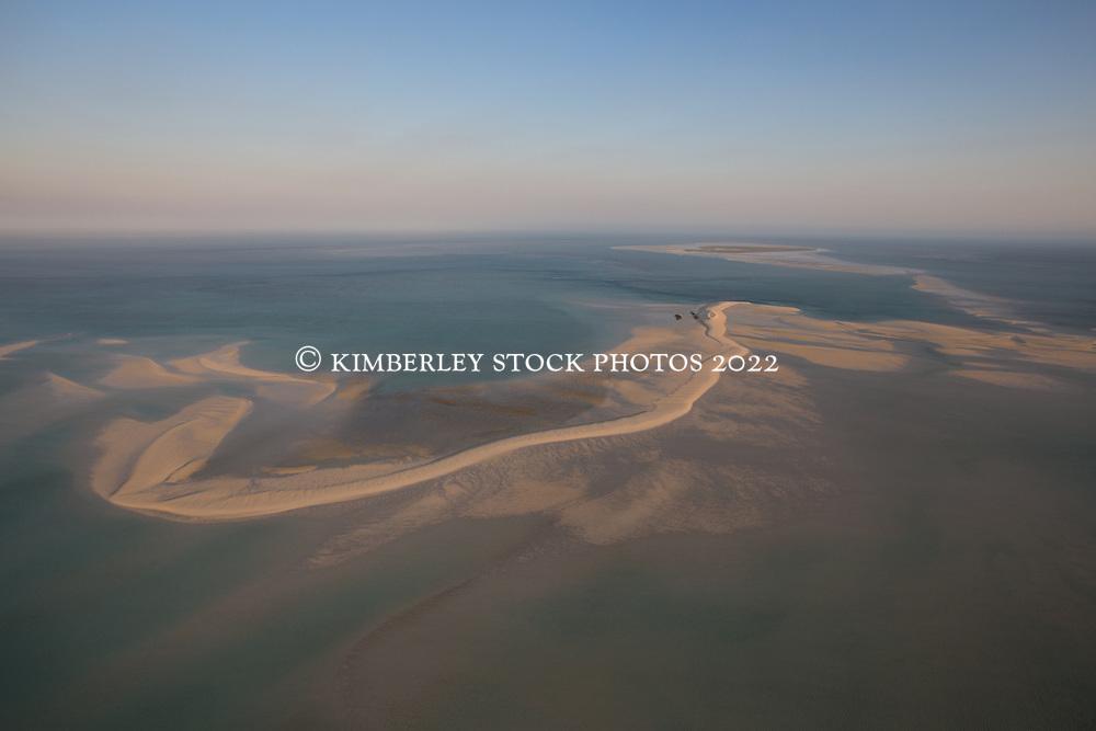 Aerial view of the sandbank near Adele Island on the Kimberley coast of Western Australia.