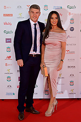 LIVERPOOL, ENGLAND - Tuesday, May 9, 2017: Liverpool boxer Liam Smith and his partner arrive on the red carpet for the Liverpool FC Players' Awards 2017 at Anfield. (Pic by David Rawcliffe/Propaganda)