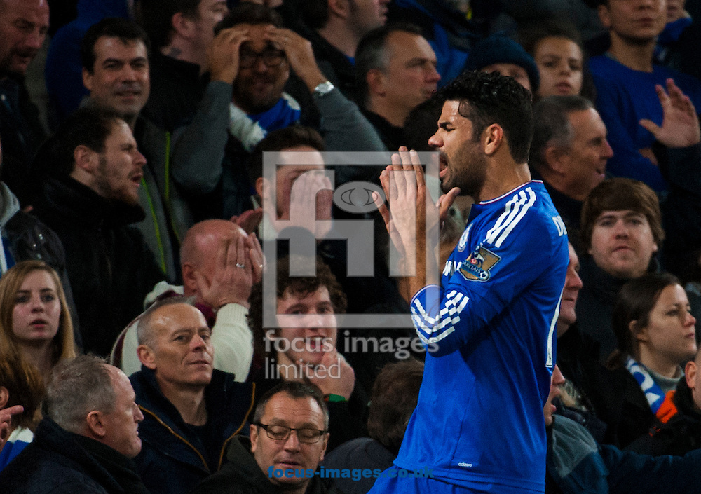 Diego Costa of Chelsea reacts after a missed chance during the Barclays Premier League match at Stamford Bridge, London<br /> Picture by Jack Megaw/Focus Images Ltd +44 7481 764811<br /> 05/12/2015