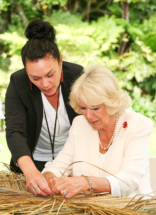 Camilla, Duchess of Cornwall learns to weave with flax during the 'Tea With Taranaki' event at Brooklands Park, New Plymouth, New Zealand, New Zealand, Monday, November 09, 2015. Credit:SNPA / Getty, Hagen Hopkins  **POOL**