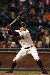 May 24, 2011; San Francisco, CA, USA;  San Francisco Giants right fielder Cody Ross (13) at bat against the Florida Marlins during the ninth inning at AT&T Park. Florida defeated San Francisco 5-1.