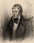 Walter Scott (1771-1832) Scottish author and poet. Best remembered for his historical Waverley novels.   Engraving from 'A Biographical Dictionary of Eminent Scotsmen' by Thomas Thomson (1870).