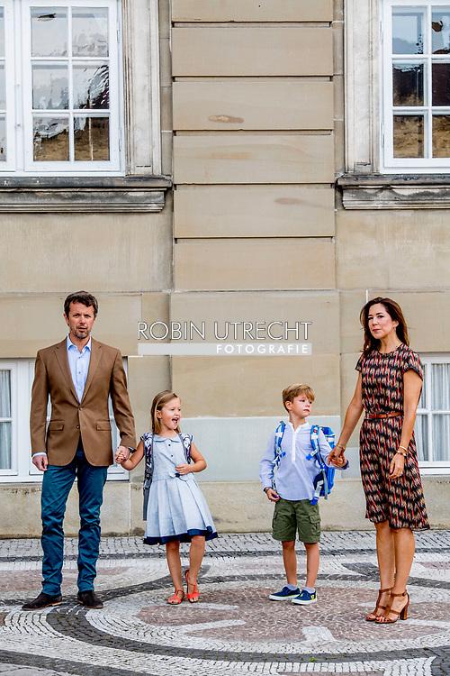 15-8-2017 COPENHAGEN DENMARK - Prince Vincent and Princess Josephine begins at the 0th grade at Traneg&aring;rd School in Hellerup on Tuesday, August 15th. In this context there is an opportunity for photography before leaving Frederik VIII's Palace, Amalienborg, the royal couple of Princess Mary and Prince Frederick will come in front of the house together with their two youngest children COPYRIGHT ROBIN UTRECHT<br /> <br /> 15-8-2017 KOPENHAGEN Denemarken - Prins Vincent en Prinses Josephine begint bij 0. klasse op Traneg&aring;rd School in Hellerup dinsdag 15 augustus. In dit kader is er gelegenheid voor fotografie voor het vertrek van Frederik VIII's Palace, Amalienborg, zal het koninklijk paar Prinses Mary and Prins Frederick in de voorkant van het huis komen samen met hun twee jongste kinderen  COPYRIGHT ROBIN UTRECHT