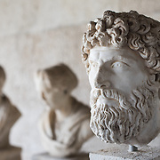 Portrait head of a man dating to the 2nd century AD. The Stoa of Attalos is a 1950s recreation of a long pavilion that was originally built around 150 BC. It was part of the Ancient Agora (market). It now houses the Museum of the Ancient Agora, which includes clay, bronze and glass objects, sculptures, coins and inscriptions from the 7th to the 5th century BC, as well as pottery of the Byzantine period and the Turkish conquest.