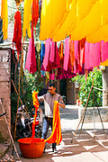 Colourful fabrics and materials in the Dyers Souk, Marrakech Medina, Morocco