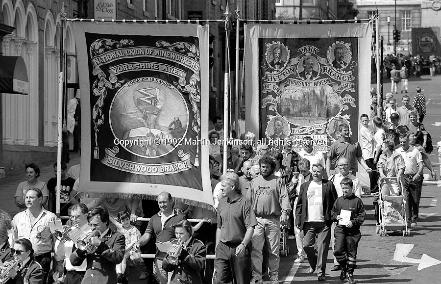 Silverwood and Kiveton Park Branch banners. 1992 Yorkshire Miners Gala, Barnsley.