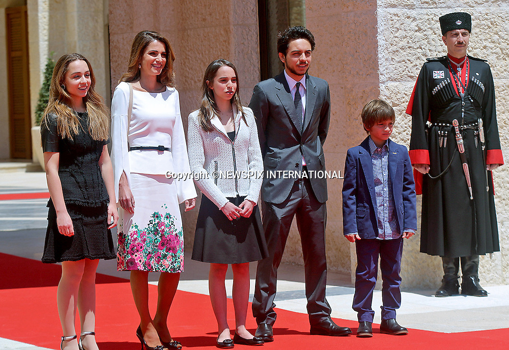 QUEEN RANIA AND CHILDREN <br /> await the arrival of Pope Francis at the start of his two-day pilgrimage to the Kingdom of Jordan at the Al Husseiniyeh Palace, Amman_24/5/2014<br /> Pictured (left to right) Princess Iman, Queen Rania, Princess Salma, Crown Prince Hussein and Prince Hashem<br /> Mandatory Photo Credit: &copy;Royal Hashemite Court/NEWSPIX INTERNATIONAL<br /> <br /> **ALL FEES PAYABLE TO: &quot;NEWSPIX INTERNATIONAL&quot;**<br /> <br /> PHOTO CREDIT MANDATORY!!: NEWSPIX INTERNATIONAL(Failure to credit will incur a surcharge of 100% of reproduction fees)<br /> <br /> IMMEDIATE CONFIRMATION OF USAGE REQUIRED:<br /> Newspix International, 31 Chinnery Hill, Bishop's Stortford, ENGLAND CM23 3PS<br /> Tel:+441279 324672  ; Fax: +441279656877<br /> Mobile:  0777568 1153<br /> e-mail: info@newspixinternational.co.uk