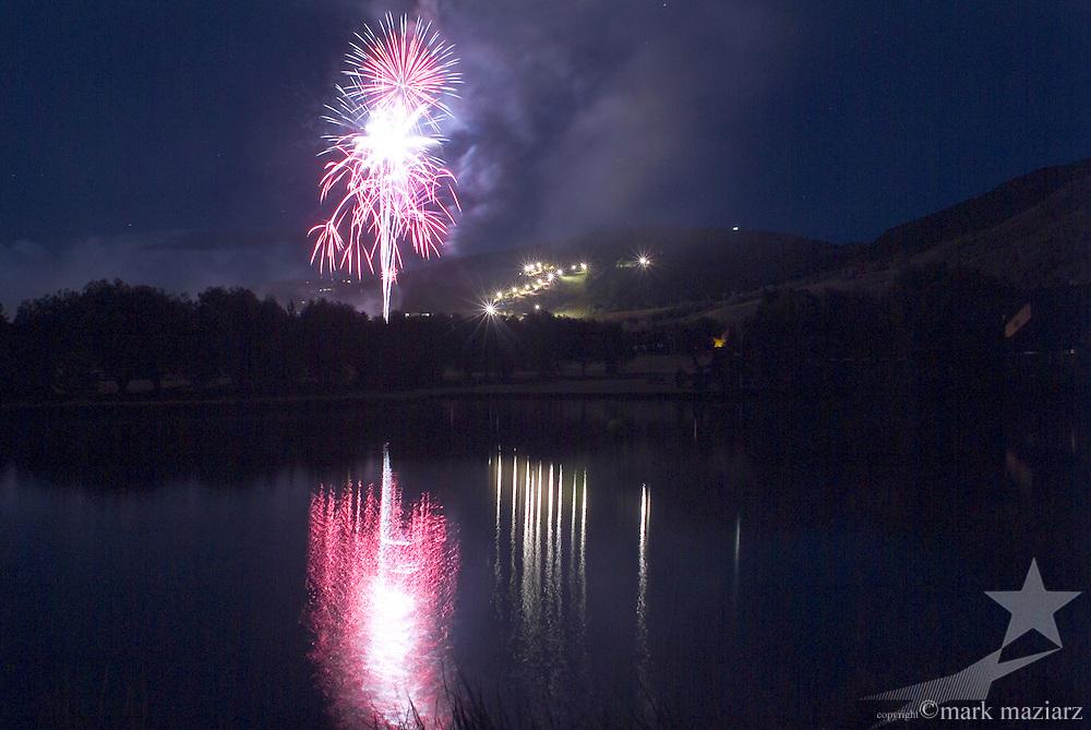 Independence Day fireworks above Park City Mountain Resort, Park City, Utah, USA
