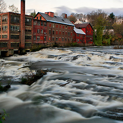 Parks and Woolson Company mill, built in 1829 in Springfield, VT, was driven by the powerful Black river that coarsed through town.