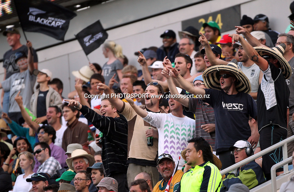 Fans enjoy the cricket.<br />