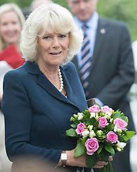 The Duchess of Cornwall during a tour of the Olympic Park velodrome in London  Wednesday 13th June 2012. Photo by: i-Images