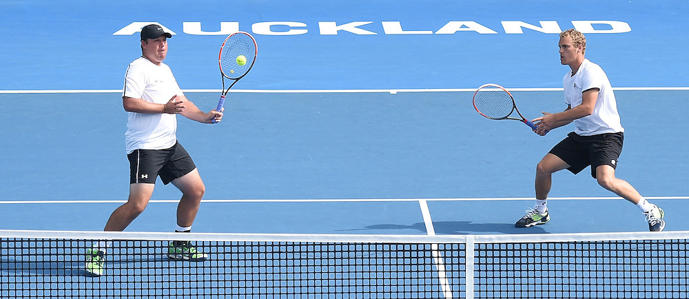 New Zealand's doubles pair of Finn Tearney and Wesley Whitehouse (L) on Day 1 at the Heineken Open. Festival of Tennis, ATP World Tour. ASB Tennis Centre, Auckland, New Zealand. Monday 12 January 2015. Copyright photo: Andrew Cornaga/www.photosport.co.nz