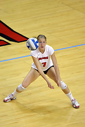 16 SEP 2008: M.C. Richmond is waiting for the ball, but it zooms by to her left during a match at Redbird Arena on the campus of Illinois State University in Normal Illinois.  The Illinois State Redbirds went toe to toe with the University of Illinois Illini but in the end were outpaced by the 23rd ranked Division 1 Illini team 3 sets to 1.