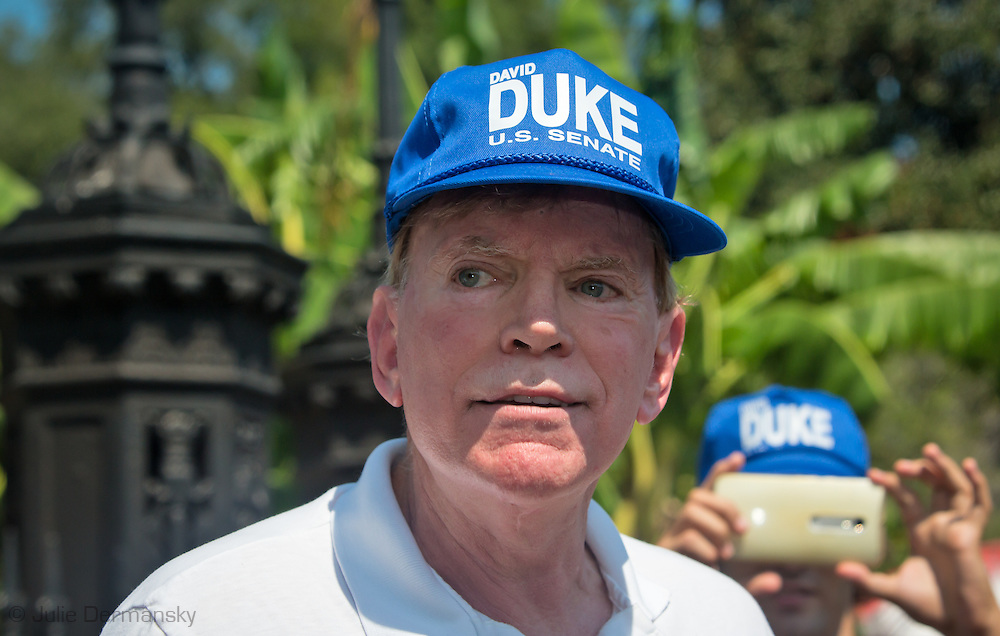 "David Duke, former Ku Klux Klan grand wizard and a candidate for U.S. Senate, in front of Jackson Square. He said he was there to protect the monument along with a few others. Activist threatened to take down the statue of Andrew Jackson in the park today. Duke left the park before people on a ""Take Em Down NOLA"" march got to the park. The march was led by activists who are angry that city officials have not removed the four monuments honoring Confederates and others who fought for white supremacy that the city council voted to remove. The police barricaded the statue so no attempt to remove it was made."