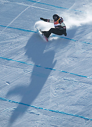 February 12, 2018 - Pyeongchang, South Korea - BROOKE VOIGT of Canada casts a long shadow as she tries to hang onto the landing during the Womens Snowboard Slopestyle finals at Phoenix Snow Park at the Pyeongchang Winter Olympic Games. (Credit Image: © Mark Reis via ZUMA Wire)