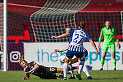 Erin Cuthbert (Chelsea) with Megan Connolly (Brighton) & Lea Le Garrec (Brighton) during the FA Women's Super League match between Brighton and Hove Albion Women and Chelsea at The People's Pension Stadium, Crawley, England on 15 September 2019.