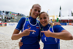 Simona Fabjan (R) and Katarina Juhart of Slovenia celebrating at CEV European Continental Beach Volleyball Cup for Olympic Qualification, on September 4, 2010, in Zrece, Slovenia. (Photo by Matic Klansek Velej / Sportida)
