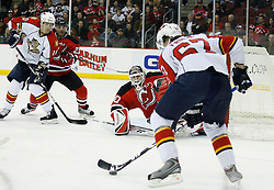 Feb 28, 2009; Newark, NJ, USA; New Jersey Devils goalie Martin Brodeur (30) gets ready to make a save on Florida Panthers center Michael Frolik (67) during the second period at the Prudential Center.