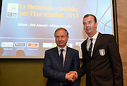 Milano 24 luglio 2013<br /> Basket media day nazionale italiana pallacanestro maschie<br /> nella foto stretta di mano tra Pianigiani e Petrucci<br /> foto Ciamillo