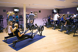 People using various machines at Southglade Leisure Centre; Nottingham