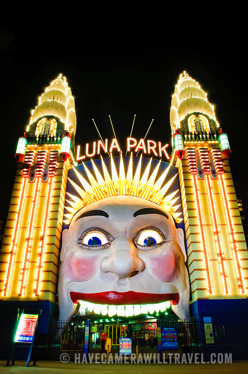Illuminated sign to Luna Park, an historic amusement park on Sydney Harbour, Sydney, Australia.