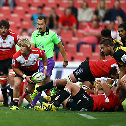 JOHANNESBURG, SOUTH AFRICA - APRIL 30: Faf de Klerk of the Emirates Lions during the Super Rugby match between Emirates Lions and Hurricanes at Emirates Airline Park on April 30, 2016 in Johannesburg, South Africa. (Photo by Steve Haag/Gallo Images)