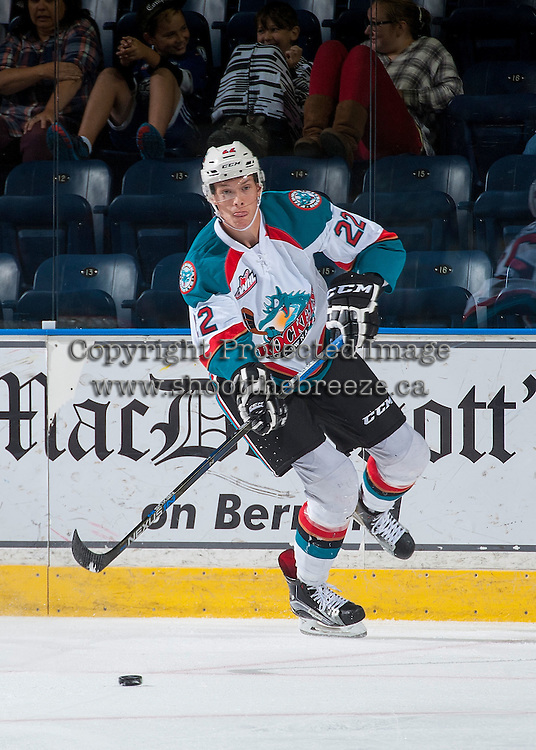 KELOWNA, CANADA - SEPTEMBER 3: Braydyn Chizen #22 of Kelowna Rockets passes the puck against the Victoria Royals on September 3, 2016 at Prospera Place in Kelowna, British Columbia, Canada.  (Photo by Marissa Baecker/Shoot the Breeze)  *** Local Caption *** Braydyn Chizen;