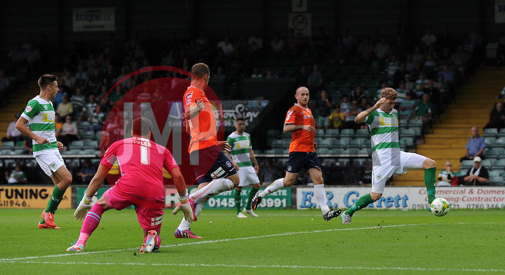 Ryan Bird of Yeovil Town scores his sides goal - Photo mandatory by-line: Harry Trump/JMP - Mobile: 07966 386802 - 22/08/15 - SPORT - FOOTBALL - Sky Bet League Two - Yeovil Town v Luton Town - Huish Park, Yeovil, England.