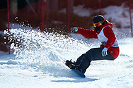 """Schladming, Austria - 2017 March 21: Christopher Joseph Perdue from USA (66) competes in Snowboarding Competition while Special Olympics World Winter Games Austria 2017 on the """"Sepp-Walcher-Downhill"""" (Slope 32) near the """"Tauernalm"""" in Rohrmoos on March 21, 2017 in Schladming, Austria.<br /> <br /> Mandatory credit:<br /> Photo by © Adam Nurkiewicz / Mediasport<br /> <br /> Adam Nurkiewicz declares that he has no rights to the image of people at the photographs of his authorship.<br /> <br /> Picture also available in RAW (NEF) or TIFF format on special request.<br /> <br /> Any editorial, commercial or promotional use requires written permission from the author of image.<br /> <br /> Image can be used in the press when the method of use and the signature does not hurt people on the picture."""