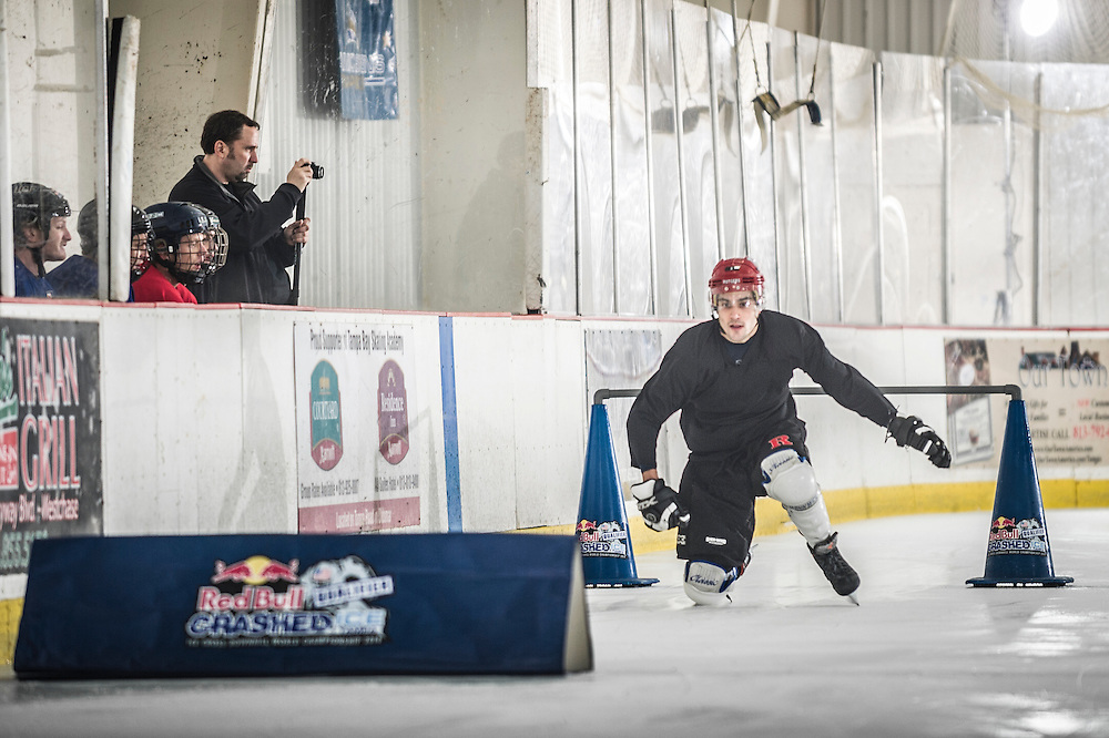 Jack Schram competes at Red Bull Crashed Ice at the Tampa Bay Skating Academy in Tampa Bay, FL, USA on 4  January 2014.